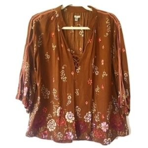 Ecote Lily Lace Up Floral Top Boho Gypsy Hippie